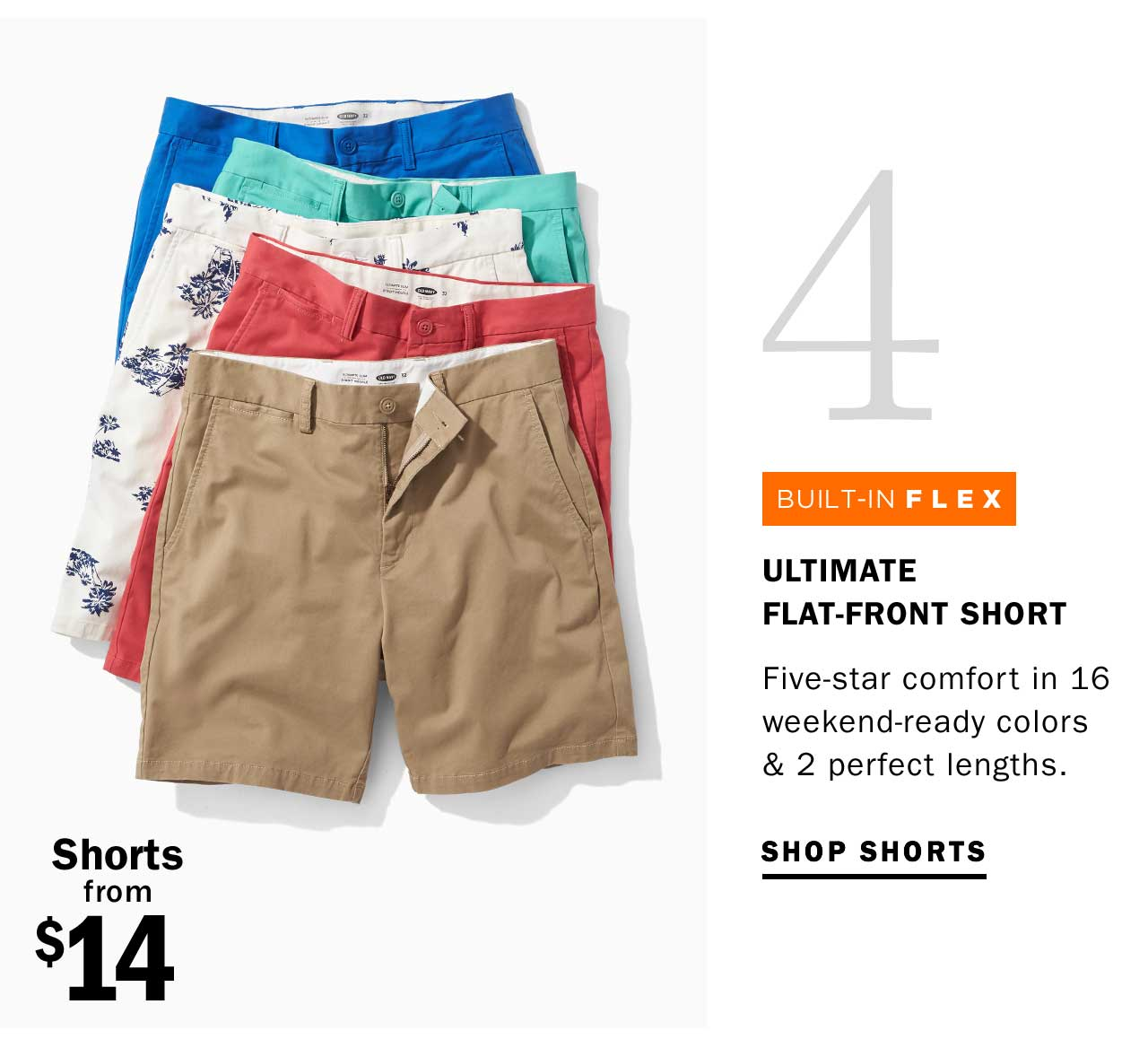 4 ULTIMATE FLAT-FRONT SHORT | SHOP SHORTS | Shorts from $14