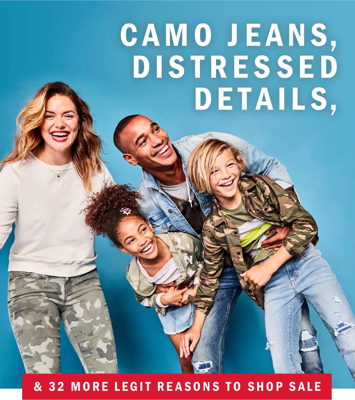 camo jeans, distressed details, & 32 more legit reasons to shop sale
