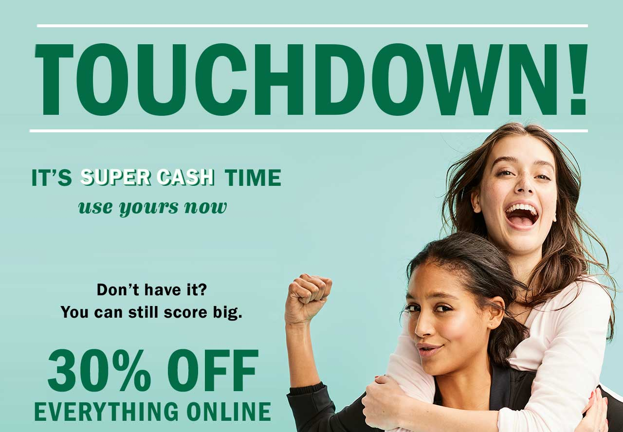 TOUCHDOWN! | 30% OFF EVERYTHING ONLINE
