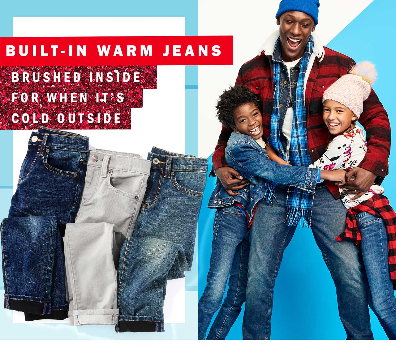 Built-in warm jeans