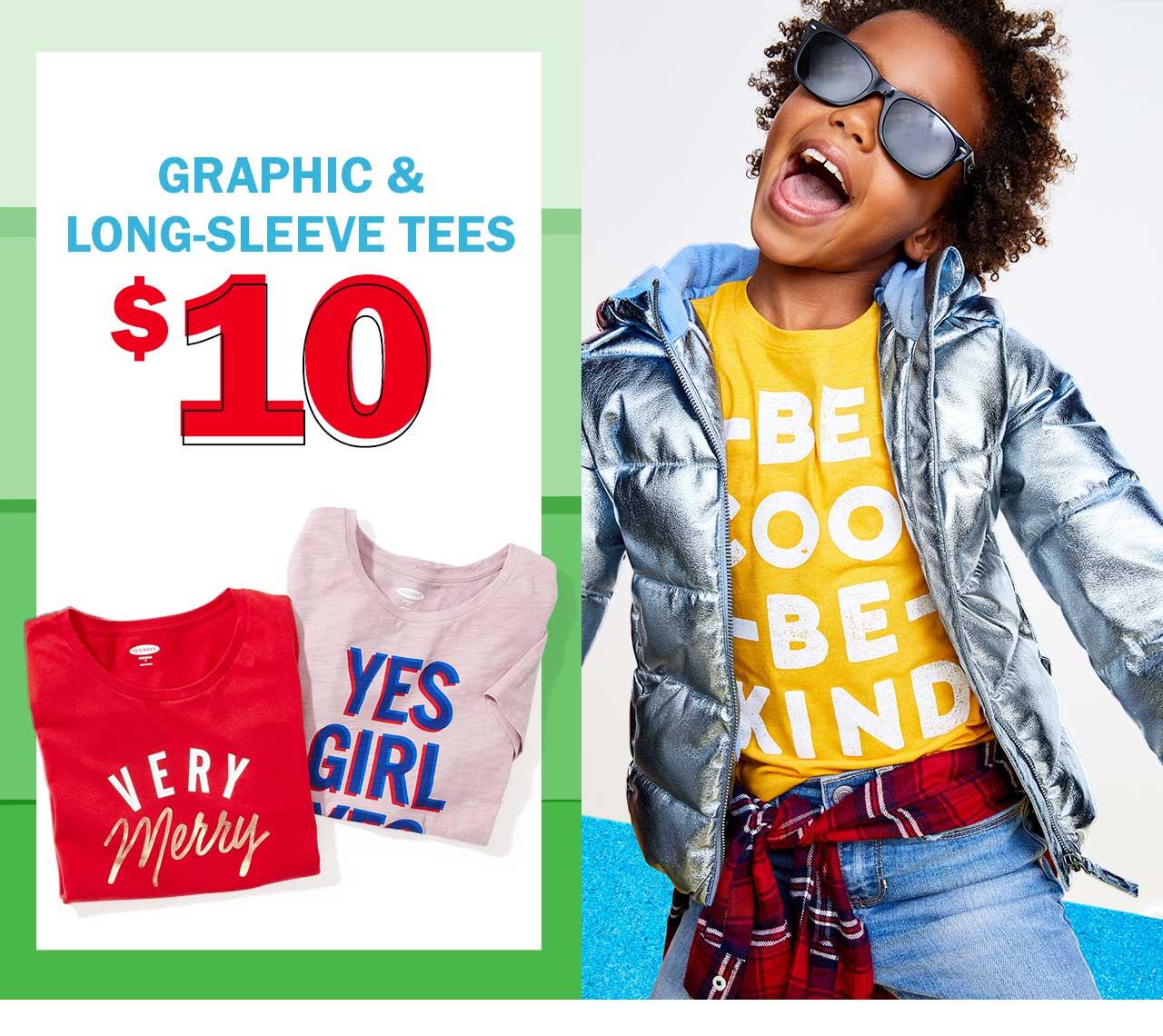 Graphic & long-sleeve tees $10